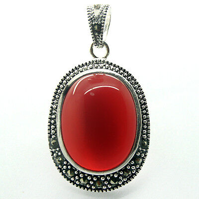 - 30X20mm Red Jade Gems 925 Sterling Silver Marcasite Jewelry Charm Pendant