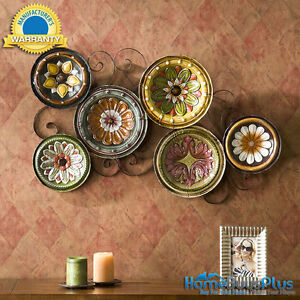 Scattered-6-Italian-Plates-Wall-Art-Kitchen-Tuscan-Metal-Hand-Painted