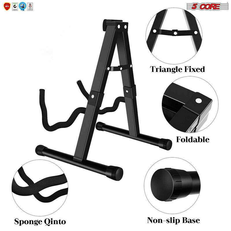 5 Core A Frame Guitar Stand Acoustic Electric Floor Rack Holder Hanger Foldable
