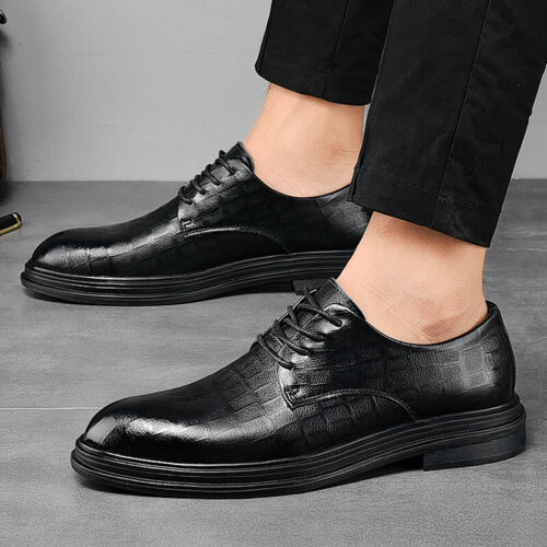 Details about  /Mens Dress Formal Leather Shoes Shiny Slip on Business Leisure Pointy Toe Work