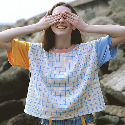 Summer Plaid Pattern T-shirt Harajuku Casual Short Sleeve Tee Women Crop Top