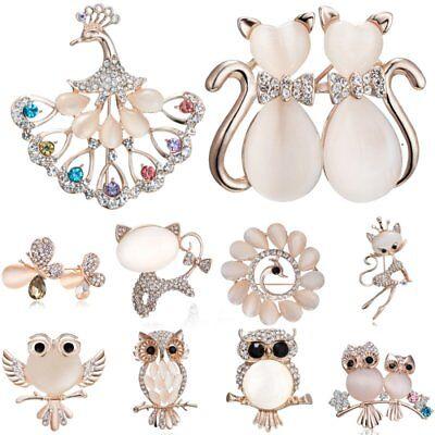 Animal Butterfly Owl Cat Wedding Crystal Women Breastpin Brooch Pin Jewelry Gift (Owl Pin)