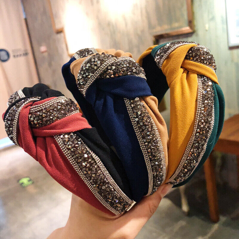 Women Knot Tie Wide Sequin Patchwork Headband Crystal Hairbands Hair Accessories
