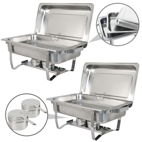 2 PACK CATERING STAINLESS STEEL CHAFER CHAFING DISH SETS 8 QT PARTY PACK Business & Industrial