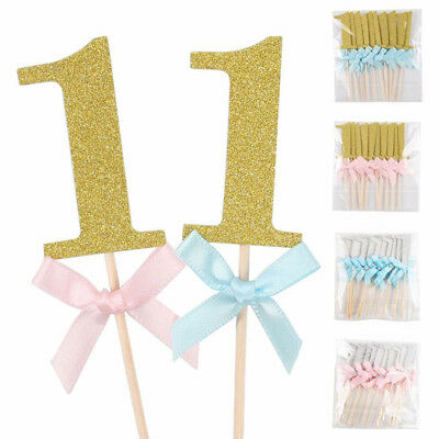 10Pcs First Birthday Cupcake Toppers Boy / Girl 1st Year Party Cake Decoration - First Birthday Decoration