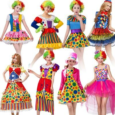 Adult Women Funny Circus Clown Costume Cosplay Halloween Purim Party Fancy Dress