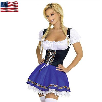 US Ladies Bavarian German Octoberfest Beer Wench Costume Blue Fancy Dress](Beer Wench Dress)
