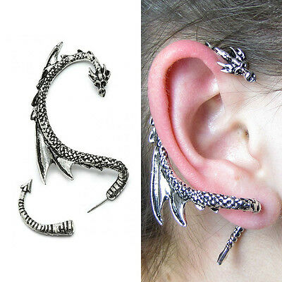 Women Silver Dragon Snake Ear Cuff Punk Clips Lure Gothic Studs Earrings Bid for sale  USA
