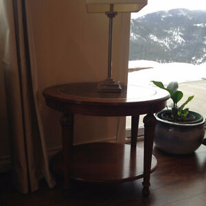2 End Tables Oval wood with Glass