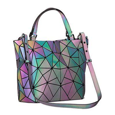 Unique Geometric Luminesk Purse Handbag Laser Top-Handle Bags Zipper Closure US