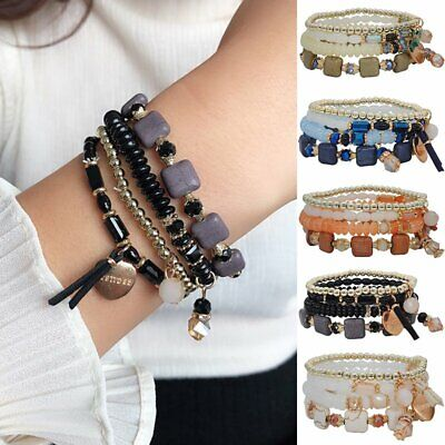 4Pcs/set Multilayer Crystal Beaded Heart Charm Bracelet Gold Charm Bangle Gifts