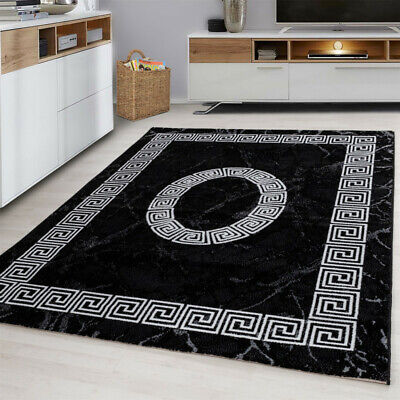 Black and White Rug Soft Versace Style Pattern Border Design Carpet Bedroom Mats