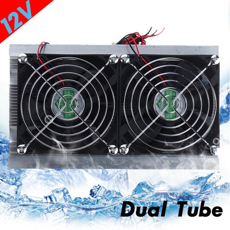 DC 12V Thermoelectric Peltier Refrigeration Cooling System Kit Cooler Dual Fans