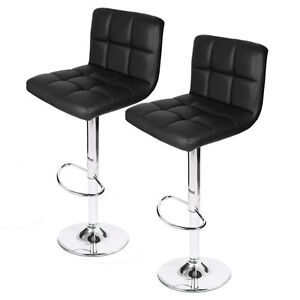 3 Black Tufted Bar Stools