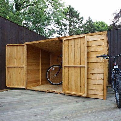 6x4 WOODEN GARDEN BIKE STORE DOUBLE DOOR PENT ROOF FELT WOOD GARDEN SHED STORAGE