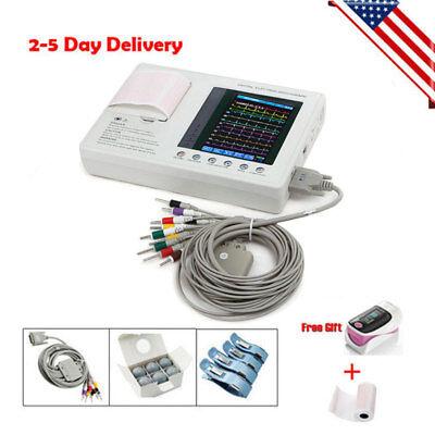 Us Portable 3-channel 12-lead Electrocardiograph Ecg Ekg Machine W Printer 100