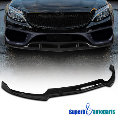 For 2015-2018 Mercedes Benz C-Class W205 Glossy Black Front Lip Spolier Splitter