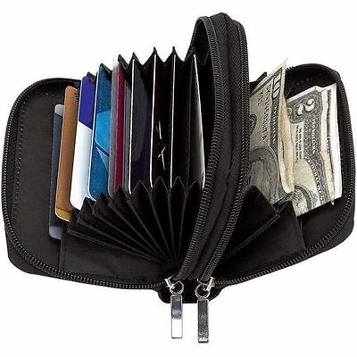 (Womens Black Leather Accordion Wallet, Slim Zipper Coin Purse Girl Clutch Case)