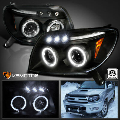 For 2003-2005 Toyota 4Runner Sport LED Halo Projector Headlights Black 2005 Toyota 4runner Headlight
