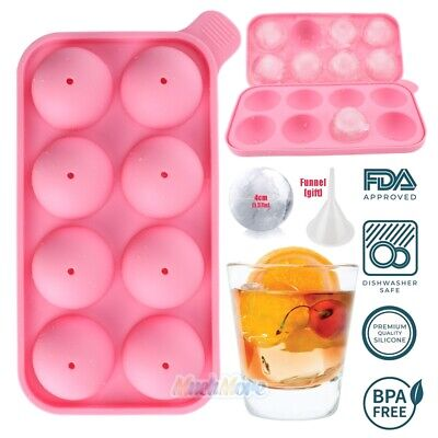 Pink Ice Cubes (Pink Round Silicon Ice Cube Ball Maker Tray 8 Large Sphere Molds Bar + Funnel)