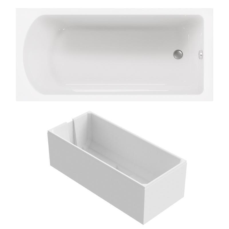 Kombi-Badewanne mit Duschzone 170x80 cm aus Sanitär-Acryl weiß inklusive Träger