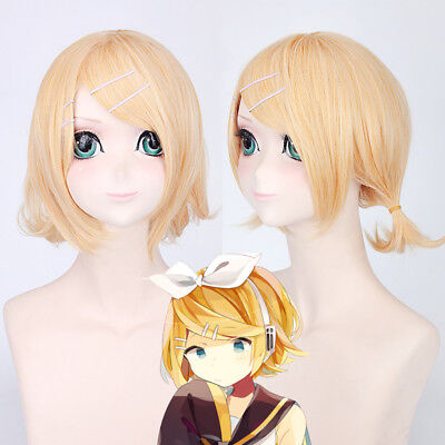 Kagamine Rin Golden Blonde Cosplay Costume Anime party heat resistant Wig EZ534
