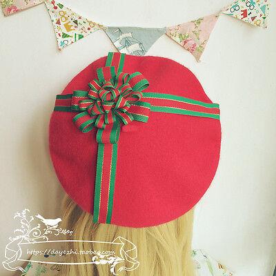 Chirstmas Hat (Chirstmas Sweet Lolita Vintage Mori Girl Red Winter Wool Beret Cap Painter)