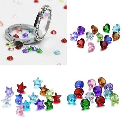 100PCS Wholesale Multi 5mm Heart Round Birthstones Charms for Floating Locket  (Floating Lockets Wholesale)