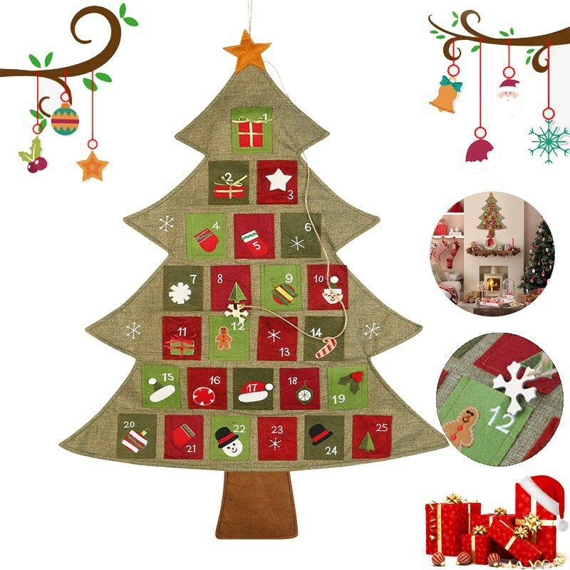 Christmas Advent Calendar.Details About Large Christmas Advent Calendar Xmas Tree Design Hanging Home Decor Gift
