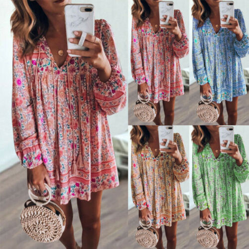 USA Women Boho Floral Vintage Long Sleeve Ladies Beach Mini Dress Short Sundress Clothing, Shoes & Accessories