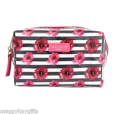 Black & White Stripe Floral Cosmetic - Make-up Bag - PVC - Zip Close