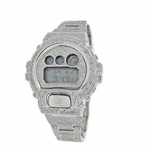 012a95ff5706 Men Iced Out Diamond Simulated Authentic G Shock DW6900 White Gold Custom  Watch