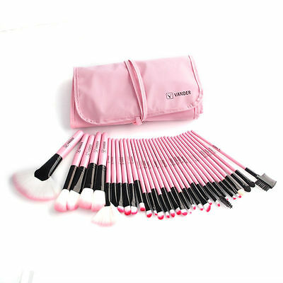 VANDER 32pcs Fashion Soft Cosmetic Professional Pink Beauty Makeup Brushes Set