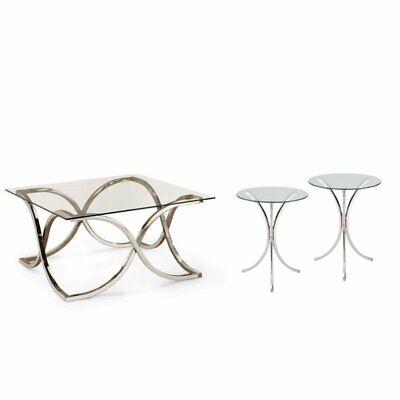3 Piece Chrome End Table - 3 Piece Coffee Table Set with Set of 2 End Tables and Coffee Table in Chrome