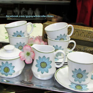 Vintage Noritake China Up-Daisy Cream & Sugar & 5 Cups & Saucers