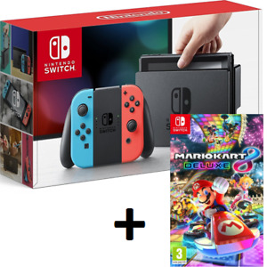 New In Box NINTENDO SWITCH CONSOLE + MARIO KART 8 DELUXE