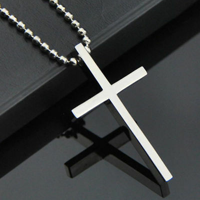 Simple Stainless Steel Silver Tone Cross Pendant Chain Necklace for Men Women
