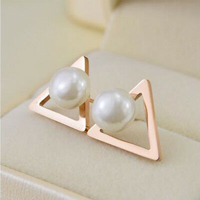 Gold Stud Triangle Top - Top Hot  Women Rose Gold Triangle Pearl Stud Earrings Two Sides Ear Stud Jewelry