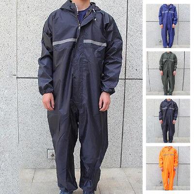 Adults Men Women Waterproof Motorcycle Rain Suit Raincoat Overalls Work Outdoor (Mens Raincoat)