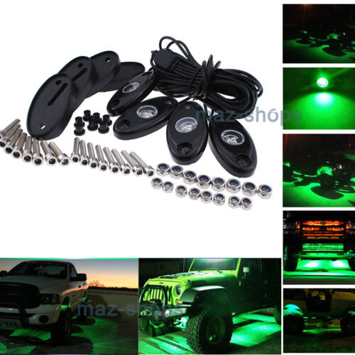 4Pcs 9W Green Cree LED Rock Light Underbody For UTV POLARIS RZR 4 XP 900 1000