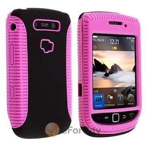 Pink Black Hybrid Double Layer Rubber Case For Blackberry Torch 9800 9810
