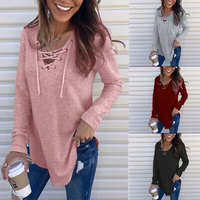 Women V Neck T Shirt Blouse Tunic Lace-up Long Sleeve Solid Tops Jumper Pullover Lace Shirt Blouse
