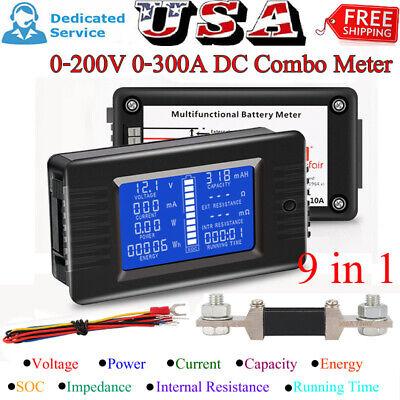 Lcd Display Dc Battery Monitor Meter 0-200v Volt Amp For Cars Rv Solar System Us