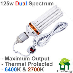 PLAIN PACKAGED UNDER 1P/HR 2 RUN 125w watt DUAL SPECTRUM CFL & HANGER GROW LIGHT