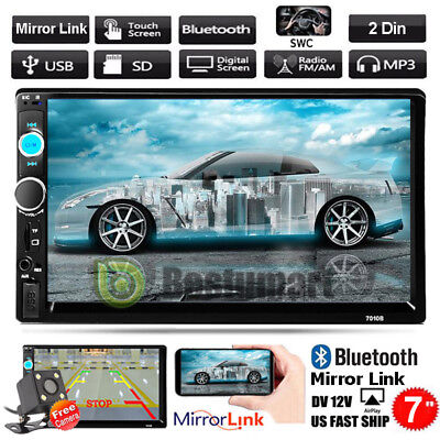 """7"""" 2 Din In-dash Bluetooth Touch Screen Car Stereo MP3 FM Radio Player+Camera"""