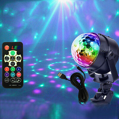 Disco Party DJ Decor Ball Stage Light Club Magic RGB Rotating LED Light Lamp