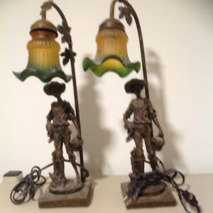 Bronze patina statue table lamps