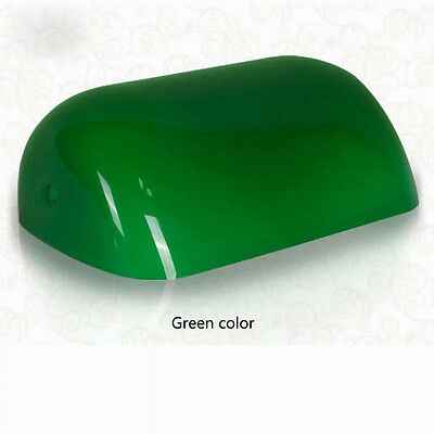 """Green Glass Banker Lamp Shade Cover Cased Replacement Lampshade 9"""" X 5 1/4"""""""