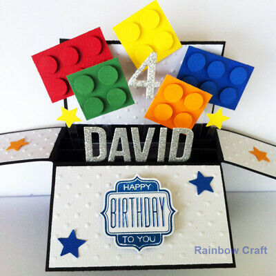 Handmade Name & Age Personalized birthday card, Lego Birthday card, Funny card