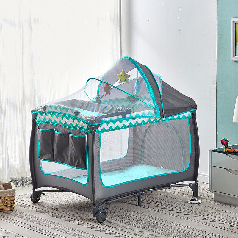 Modern Portable Baby Travel Cot Crib Bassinet Bed Playpen In
